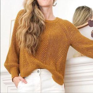 Madewell Mustard Balloon Sleeve Knit Sweater